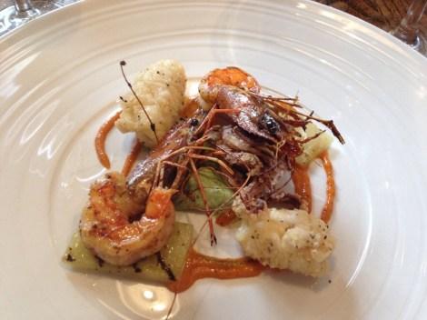 King prawns with crispy squid