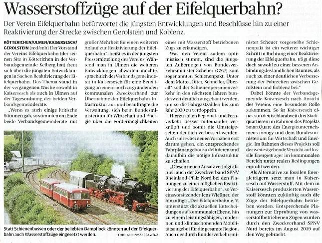 Wasserstoffzuge auf der Eifelquerbahn