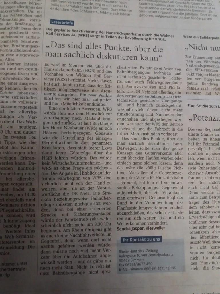 Leserbriefe Hunsrückbahn