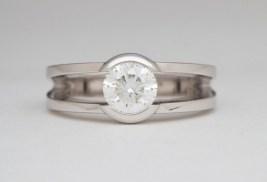 Custom CAD Diamond and Platinum Tension Set Engagement Ring