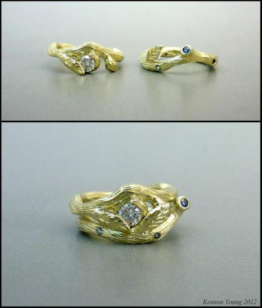 Stackable Green Gold Flower and Vine Rings with diamonds and sapphires.