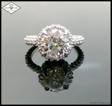 157 diamonds encrusted in a platinum engagement ring