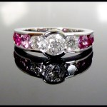 Diamond and pick sapphire celebratory ring for a breast cancer survivor