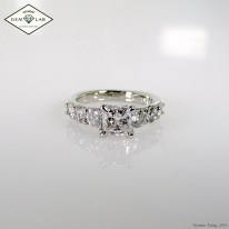 Tapered princess cut diamond engagement ring in platinum