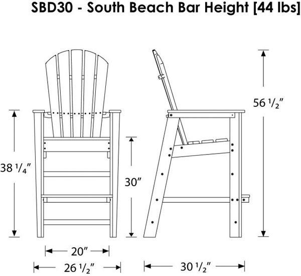 Polywood South Beach Bar Height Outdoor Chairs | Adirondack Style ...