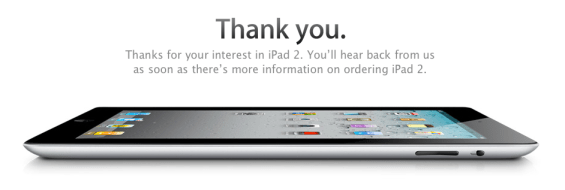 iPad 2 Thank You for Registering