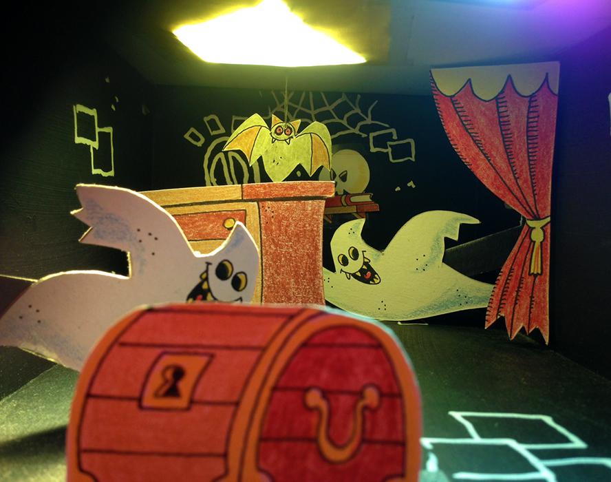 SPOOKHUISJE - knutsel een griezelkijkdoos met bewegende figuren én lichteffecten - Workshop met Vero Beauprez