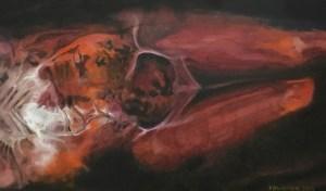 Title: Study of a Body 40 Artist: Veronica Huacuja Medium: Oil on canvas Size: 120 x 70 cm Year: 2018 #Saatchiart,#FrancisBacon, #VeronicaHuacuja, #Bodyart, #bonesart, #aestheticalbeauty, #HumanLandscape, #medicalart, # #aesthetictransposition, #anatomicalart