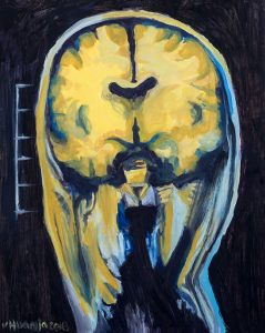 """The artwork displays the cranial fossa of Jane or John Doe. This is, the piece exhibits the carnal material of a genderless, anonymous, sick human body.  I based the artwork on radiological coronal """"cuts"""" (front views) medical studies performed on anonymous persons."""