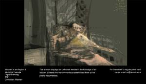 The artwork displays an unknown female in the hallways of an asylum. I based this work on various screenshots from a true public documentary.