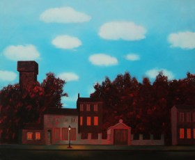"""Homage to Magritte  40x48"""" Oil on canvas, 2013 SOLD"""