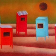 """La Notte dei Sogni Dominicani  *Triptic 18x52"""" Acrylic on canvas, 2009  SOLD"""
