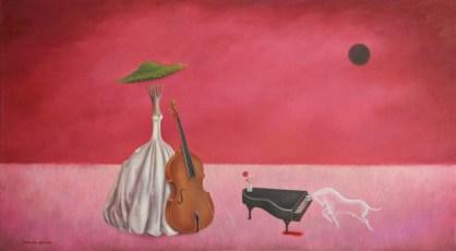 """En una noche... Dominguez y yo 20x36"""" Oil on canvas, 2013  SOLD"""