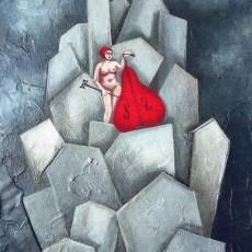 """La donna il violino e le memorie 18x15"""" Acrylic on canvas, 2006  SOLD"""