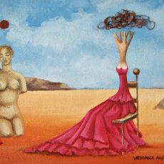 """Yo y mi Conciencia 7x5"""" Acrylic on canvas, 2011  SOLD"""