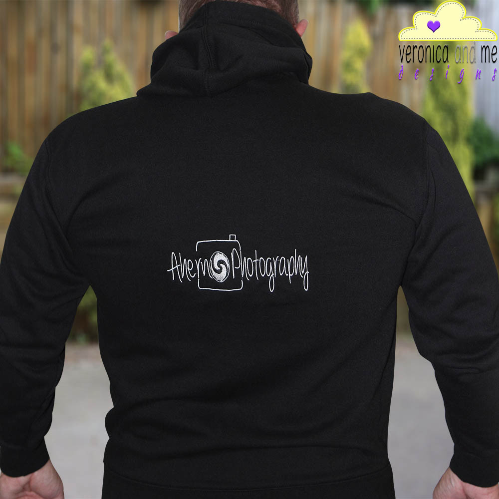 embroidered hoodie sweatshirt logo custom embroidery ahern photography