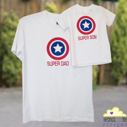 super dad super son blue red embroidery appliqué star target circle