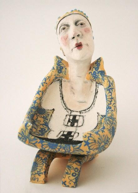 even her flamboyance - woman as chair series - ceramic sculpture 25 cm h