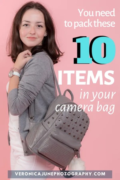 Woman with camera bag backpack