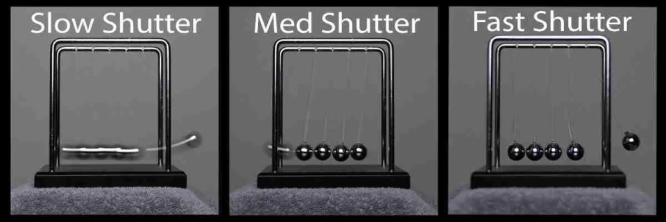An image of 3 shutter speeds capturing motion for Manual Mode shooting