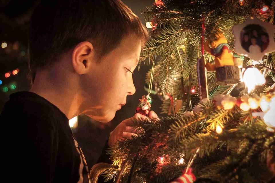 Nighttime Photo by Christmas tree lights