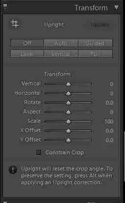 Screenshot in Lightroom showing tilt tool for cropping in lightroom