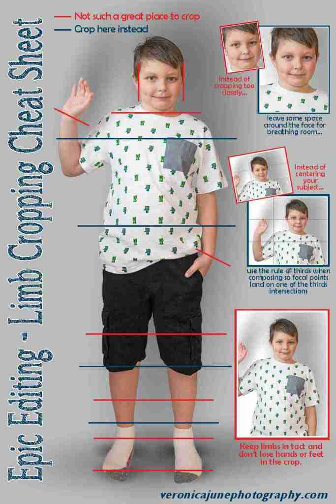 cheat sheet with boy and red and blue lines showing where to crop and where to not crop following rules of cropping photos