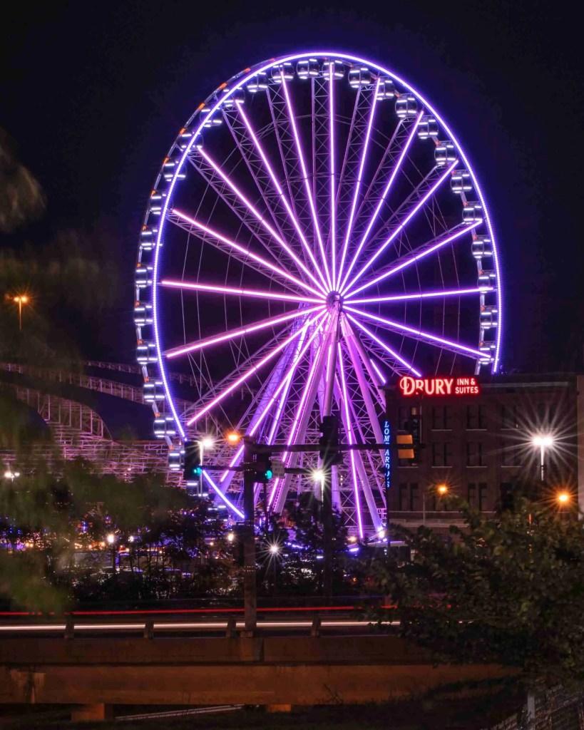 Pink Ferris Wheel taken with fast shutter speed
