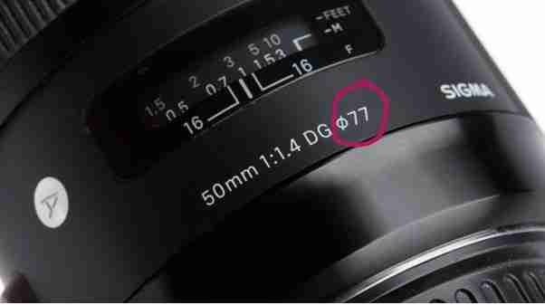 camera lens with lens size circled