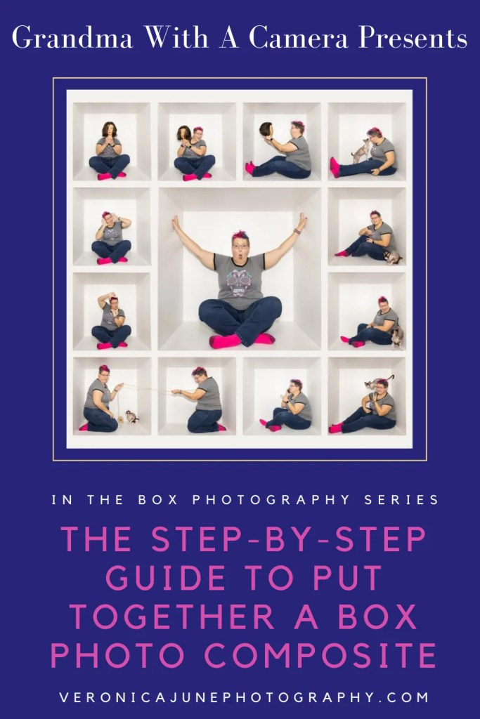 PIN image with woman repeated in a box for How To Put Together a Box Photo Composite