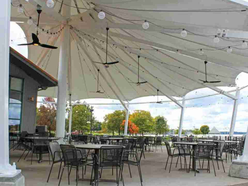 Patio Seating with sun shade for Boatwerks - the sixth best place to eat in holland mi