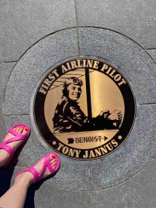 A plaque on the pier commemorating the first commercial airline pilot Tony Jannus