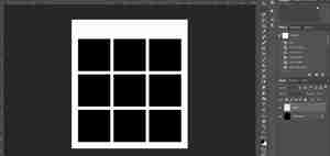 Photoshop screenshot showing a completed template made of two layers
