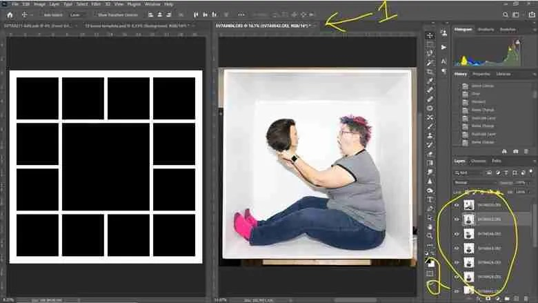 Photoshop screenshot showing how to select all layers