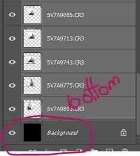 Photoshop screenshot showing layers with black bottom layer