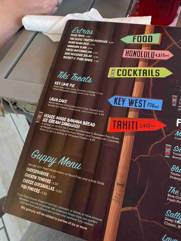Tiki Docks menu - one of the best places to eat in St. Pete Fl