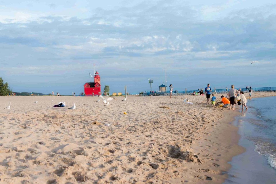 A wide view of Holland State Park showing Big Red Lighthouse