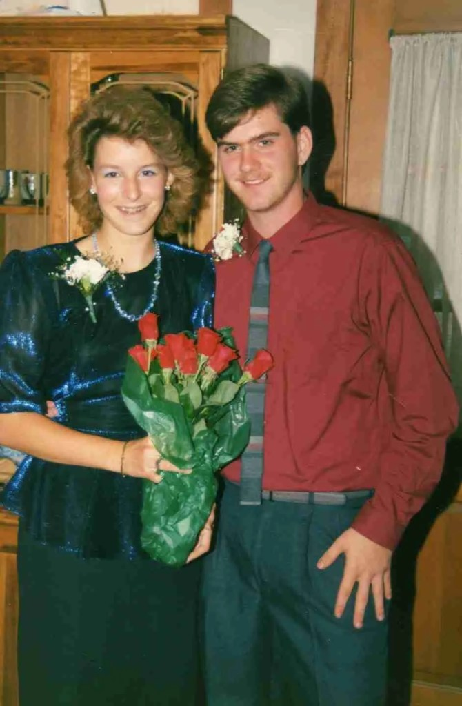 dance date from the 80's with girl and big hair