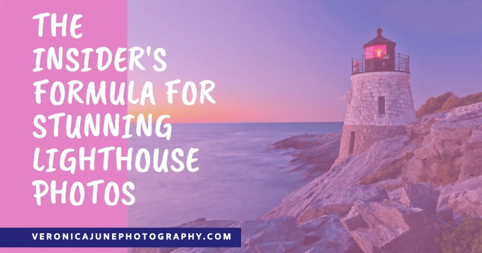AD image for lighthouse photos by night - pink background with lighthouse