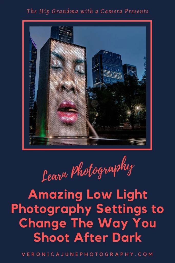 PIN image for low light photography post showing a fountain made of a woman's face and the title of the post