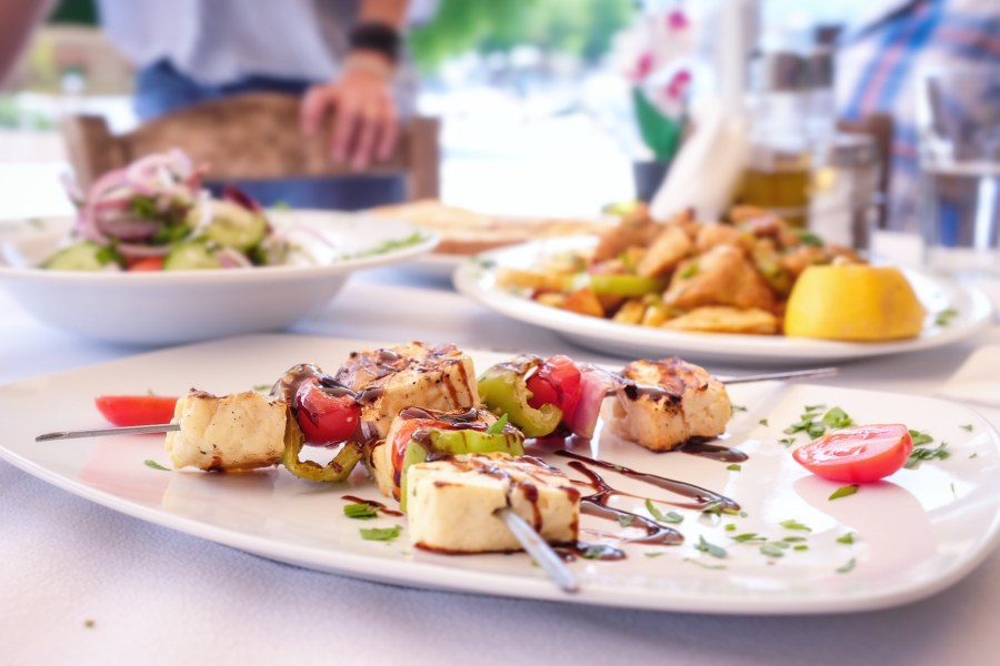 Greek food in restaurant in Thassos Greece