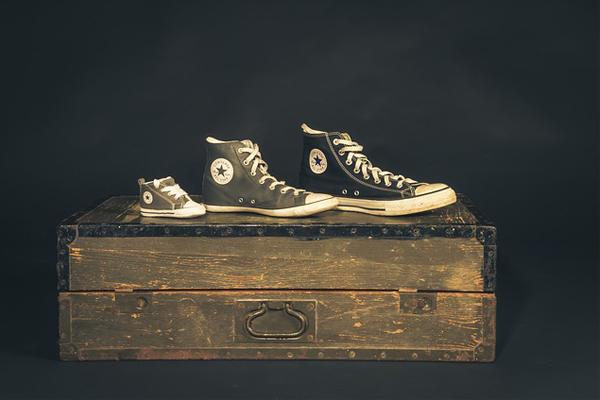 three converse sneakers