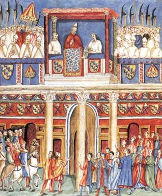Giacomo Grimaldi, Bonifacio VIII si mostra alla folla dalla loggia delle Benedizioni del Laterano - Fine del XVI secolo, disegno acquarellato su carta, 440x300 mm Milano, Biblioteca Ambrosiana