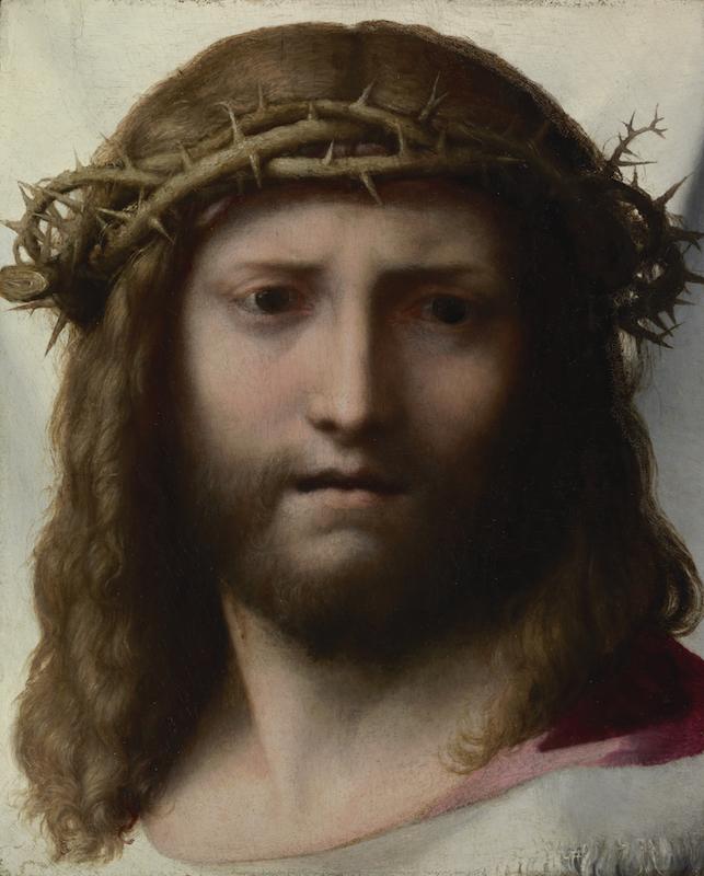 Head of Christ; Correggio (Antonio Allegri) (Italian, about 1489 - 1534); about 1525 - 1530; Oil on panel; 28.6 x 23.5 cm (11 1/4 x 9 1/4 in.); 94.PB.74