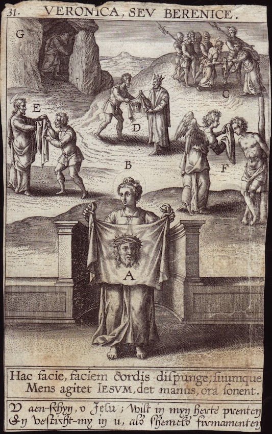 Holy Face 17th cent engraving Veronica, sev Berenice