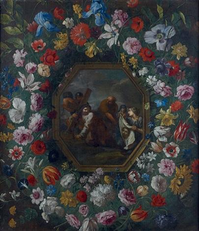 giovanni-stanchi-le-voile-de-véronique-dans-une-guirlande-de-fleurs