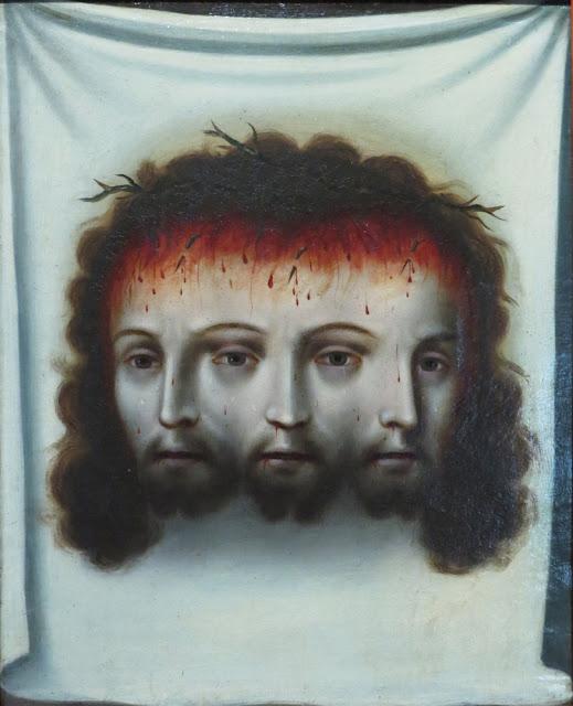 Trinidad Trifacial. Anónimo, siglo XVIII. Óleo sobre tela 44.5 x 35.7 cm. Acervo del Museo Nacional del Virreinato Versión 1 copia