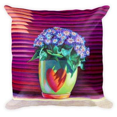Blue flowers in heart pot pillow 2