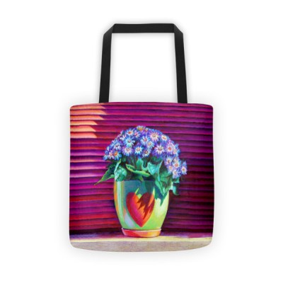 Tote bags for teachers: Pot with Blue Flowers