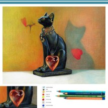 How to draw an Egyptian cat step by step in colored pencil